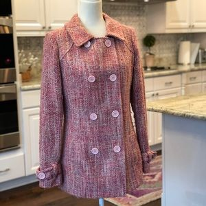 Guess Authentic Pink Twill Winter Pea Coat
